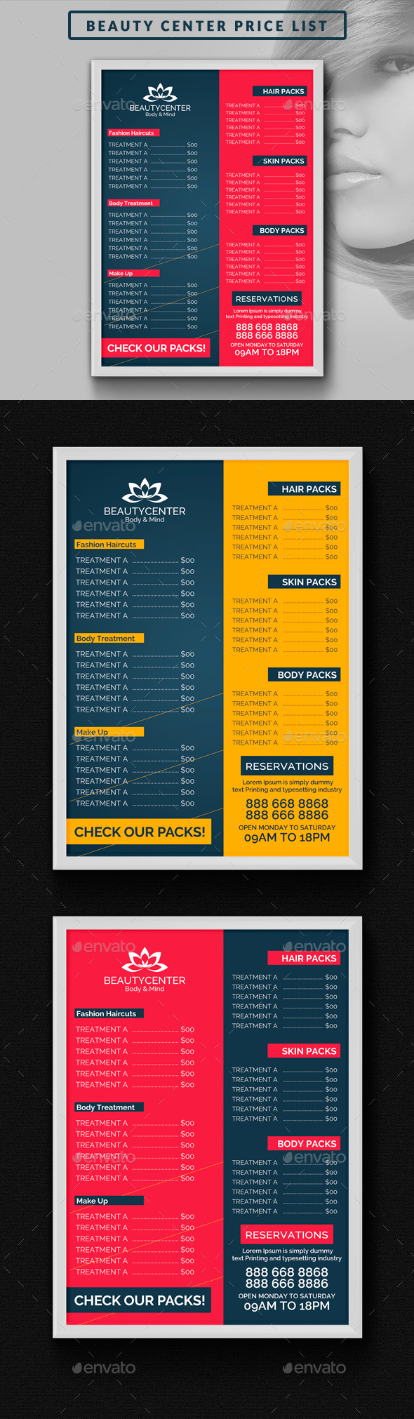 Beauty Center Price List Template   Miscellaneous Print Templates