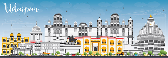 Udaipur Skyline with Color Buildings and Blue Sky. - Buildings Objects