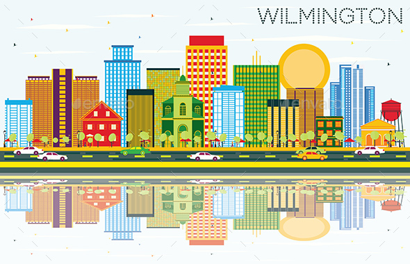 Wilmington Skyline with Color Buildings, Blue Sky and Reflections. - Buildings Objects