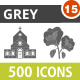 500 Vector Greyscale Flat Icons Bundle (Vol-15)