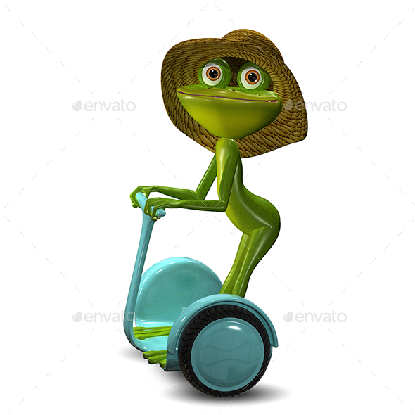 3d Illustration of the Frog in the Straw Hat in Segway - Characters 3D Renders