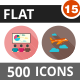 500 Vector Long Shadow Colorful Flat Icons Bundle (Vol-15)