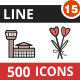 500 Vector Filled Line Icons Bundle (Vol-15)