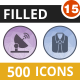 500 Vector Filled Low Poly Icons Bundle (Vol-15)