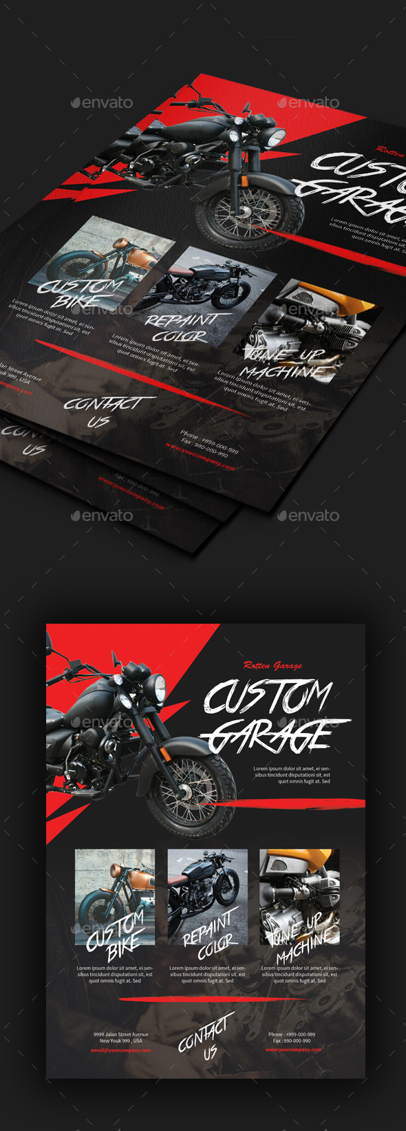 Motorcycle Custom Garage Flyer - Corporate Flyers