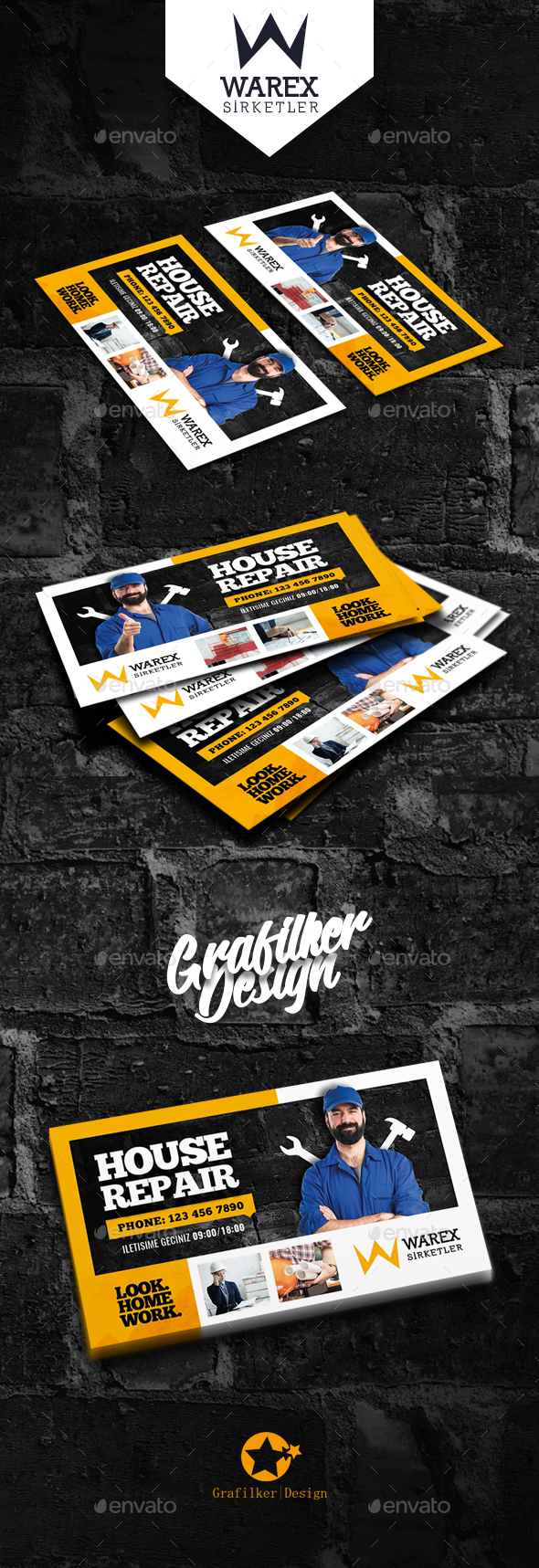 House Repair Business Card Templates by grafilker | GraphicRiver