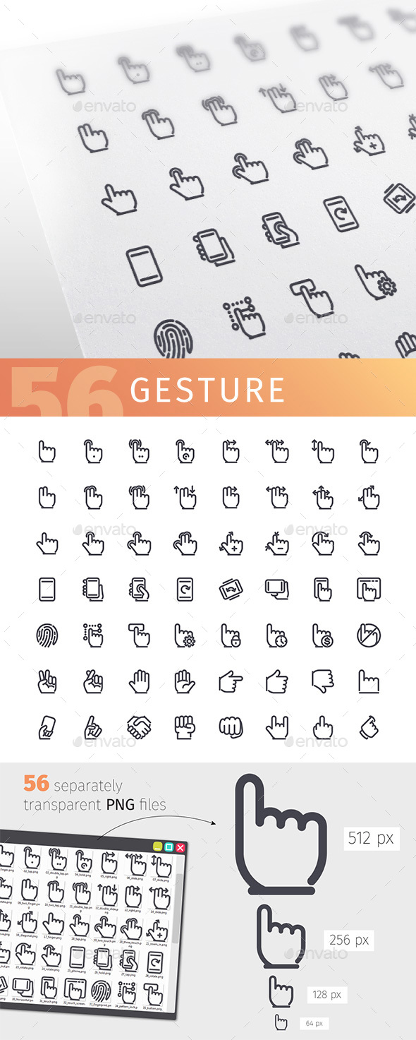 Gesture Line Icons Set - Technology Icons