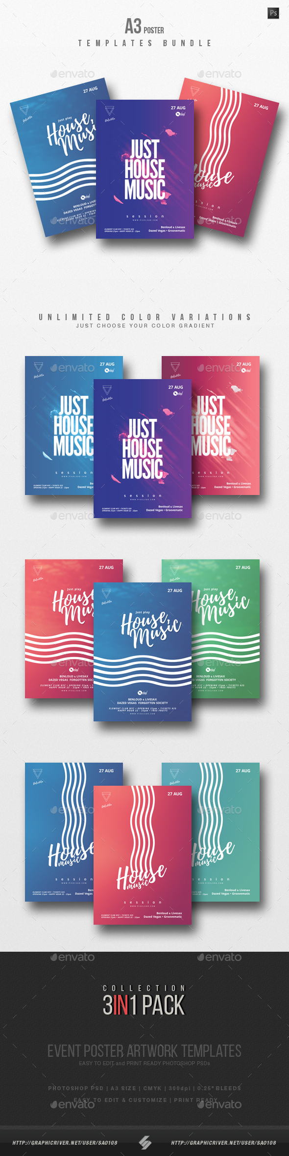 House Music Party Flyer / Poster Templates Bundle - Clubs & Parties Events