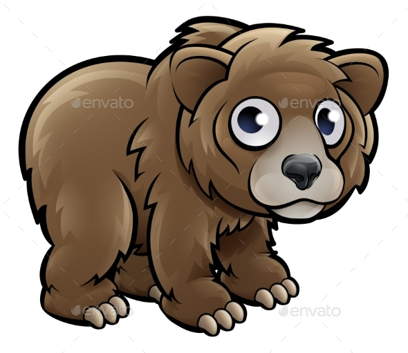 Bear Grizzly Animals Cartoon Character - Animals Characters