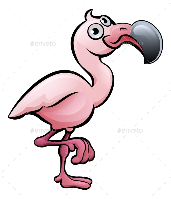 Flamingo Safari Animals Cartoon Character - Animals Characters