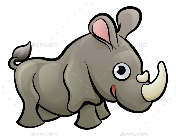 Rhino Safari Animals Cartoon Character - Animals Characters