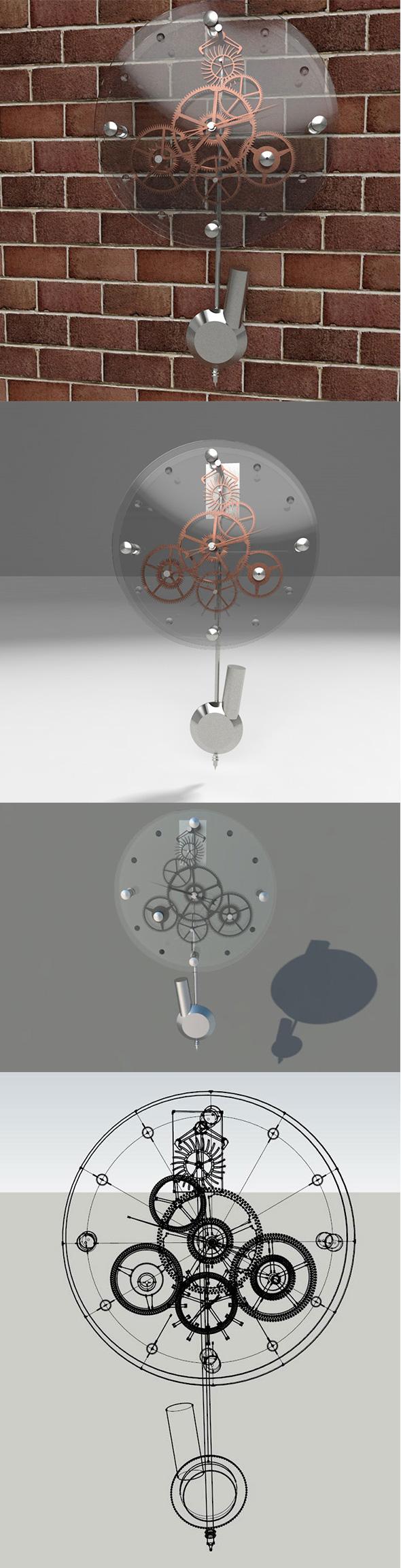 Clock 3d Model - 3DOcean Item for Sale