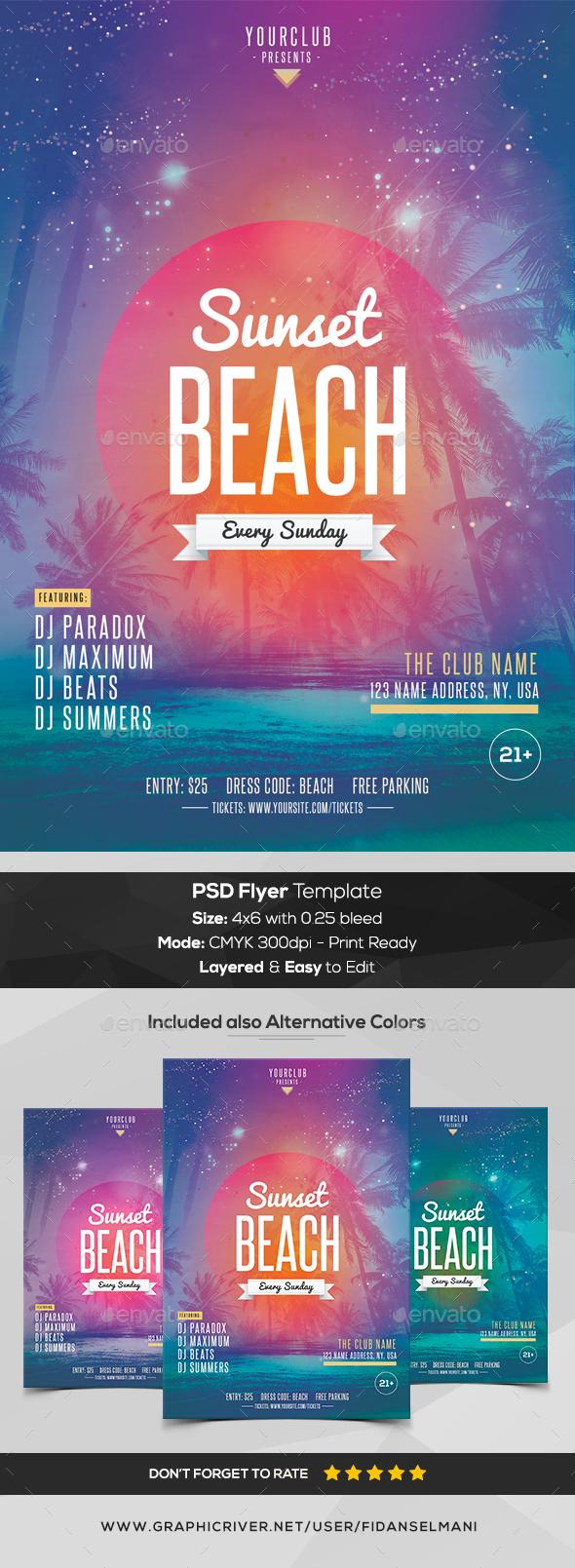 Sunset Beach - PSD Flyer Template - Events Flyers