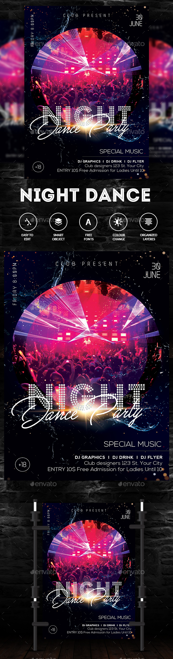 Party Nights Dance Flyer - Clubs & Parties Events