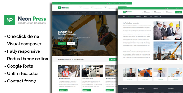 Neon-Press - Construction Business WordPress Theme - Business Corporate