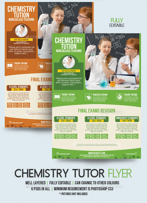 Chemistry Teacher Flyer Template By BloganKids GraphicRiver - Teacher brochure template