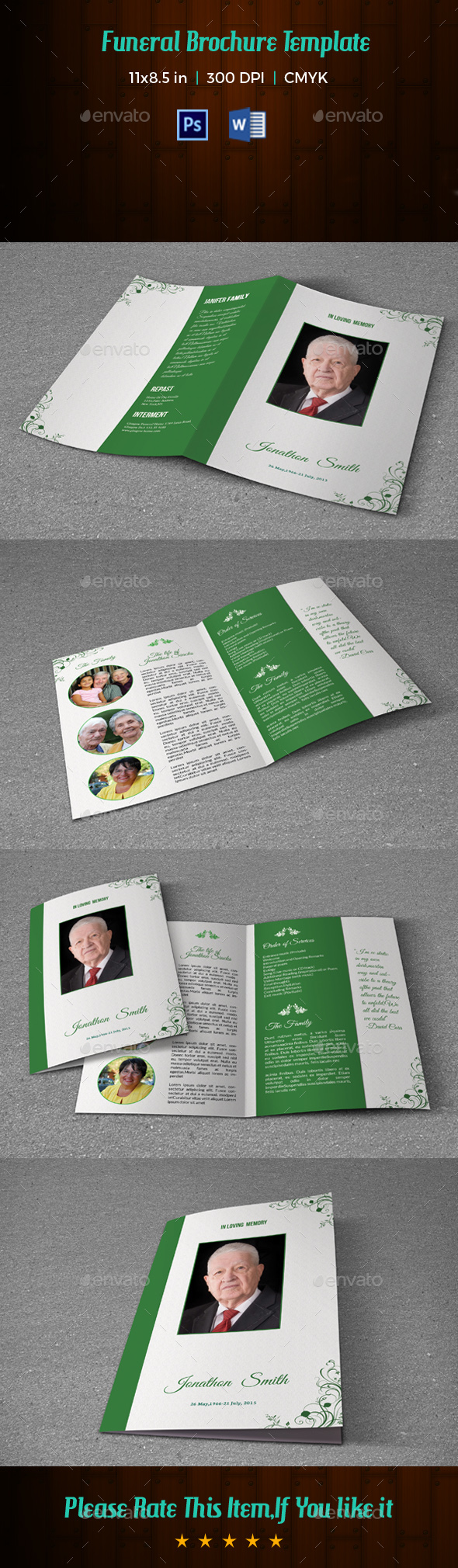 Funeral Program Template V182 - Informational Brochures