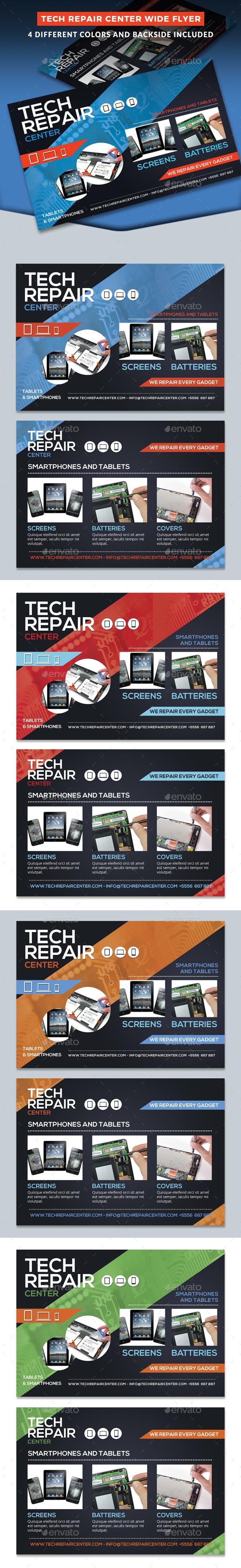 Tech Repair Center Wide Flyer Template - Commerce Flyers
