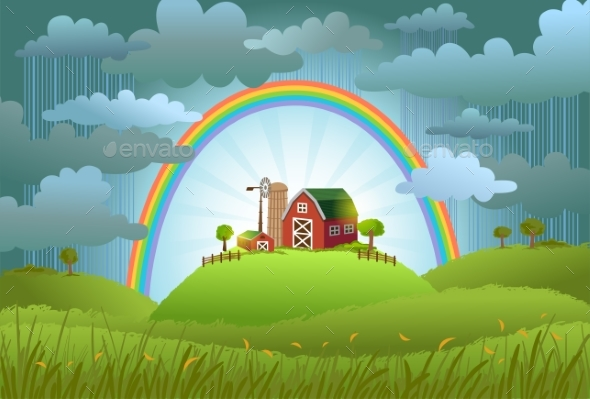 The Rainbow Protects the Small Farm - Landscapes Nature
