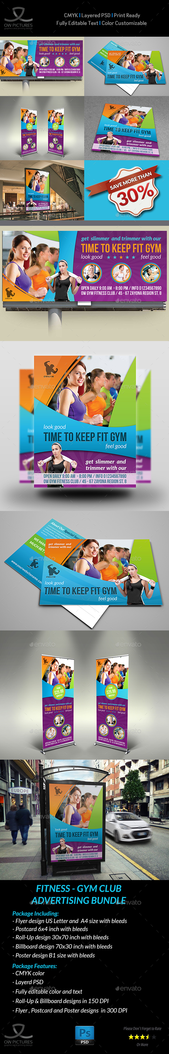Fitness - GYM Advertising Bundle Vol.2 - Signage Print Templates