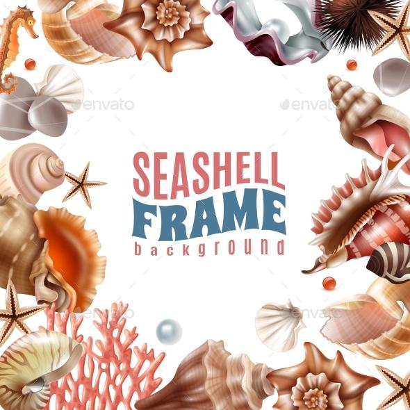 Seashell Realistic Frame - Borders Decorative