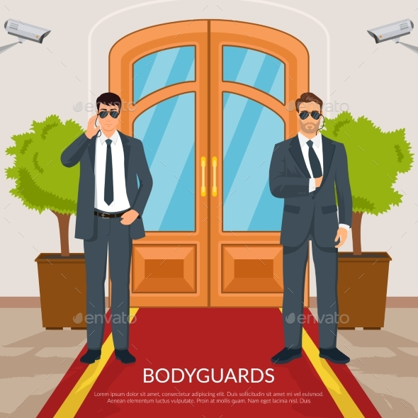 Bodyguard at Doors Illustration - Miscellaneous Vectors