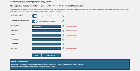 CodeCanyon Gravity Form Create User & Auto Login 20283139