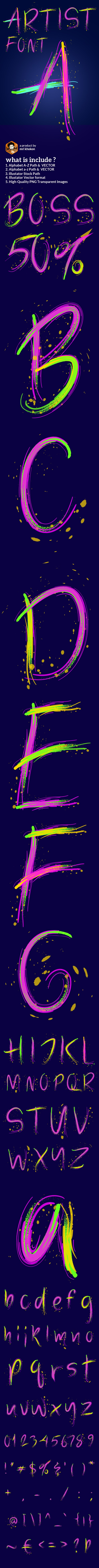 Artistic Colorful Alphabet - Artistic Brushes