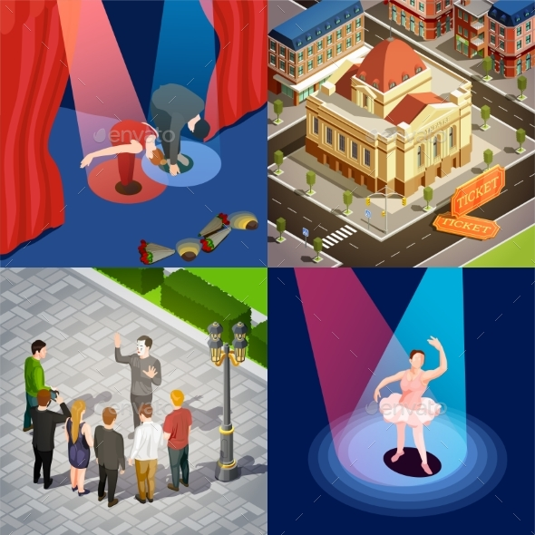 Theatre 2X2 Isometric Set - People Characters