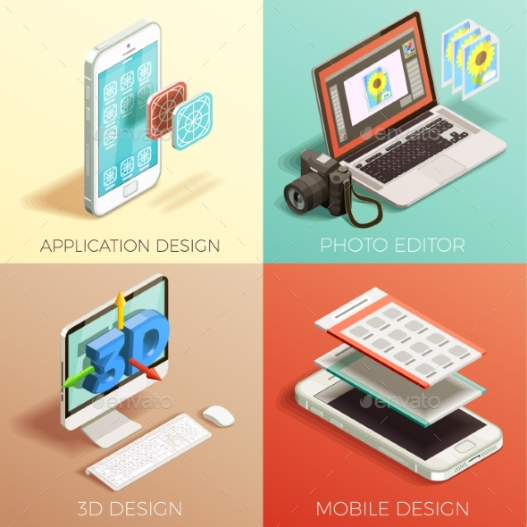 Isometric Graphic Design Set - Miscellaneous Vectors