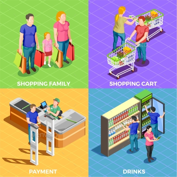 People Shopping Isometric - People Characters