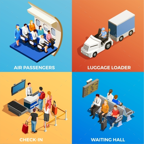 Isometric People at Airport - Travel Conceptual