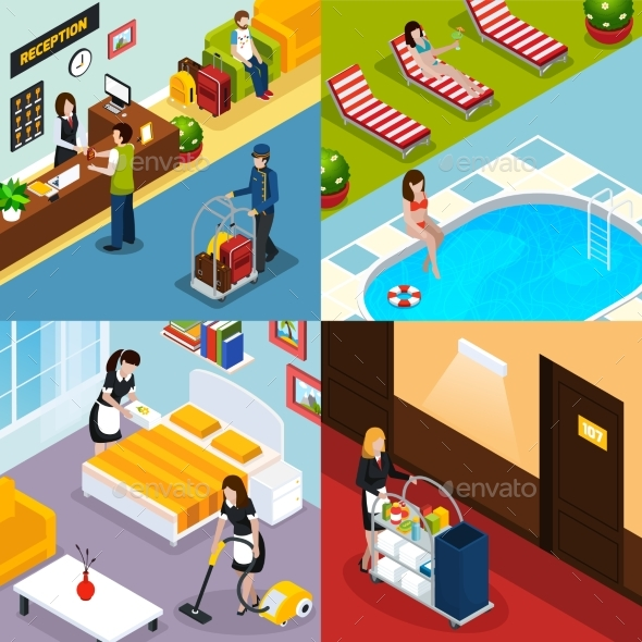 Hotel Service Isometric Icon Set - Services Commercial / Shopping