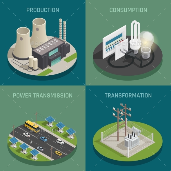 Electric Power 4 Isometric Icons - Industries Business