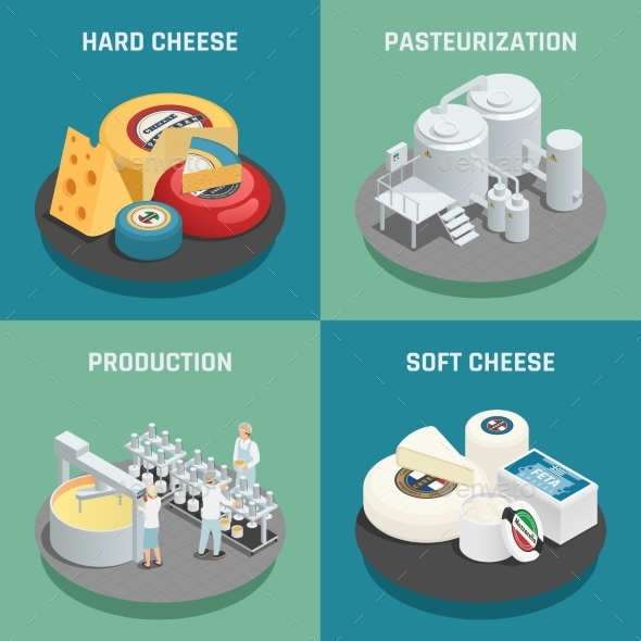 Cheese Production Isometric Icons Concept - Food Objects