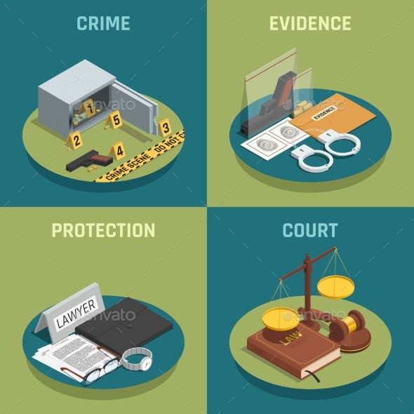 Law Justice Concept Isometric Icons - Miscellaneous Vectors