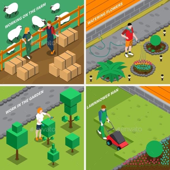 Working On Farm 2X2 Design Concept - Miscellaneous Vectors