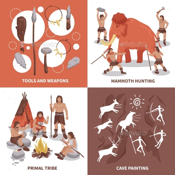 Primal Tribe People Concept Icons Set - Miscellaneous Vectors