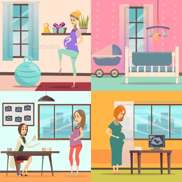 Pregnancy Icon Set - People Characters