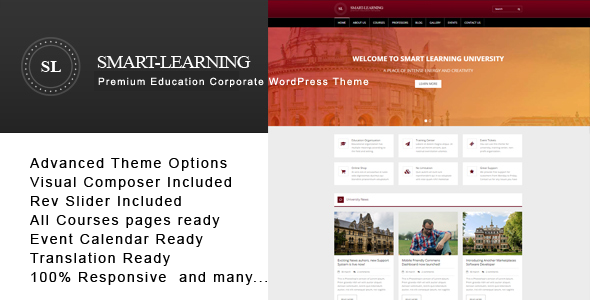 ThemeForest Smart Learning Premium Education Corporate WordPress Theme 20283542