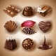 Set of Vector Icons of Chocolate Desserts