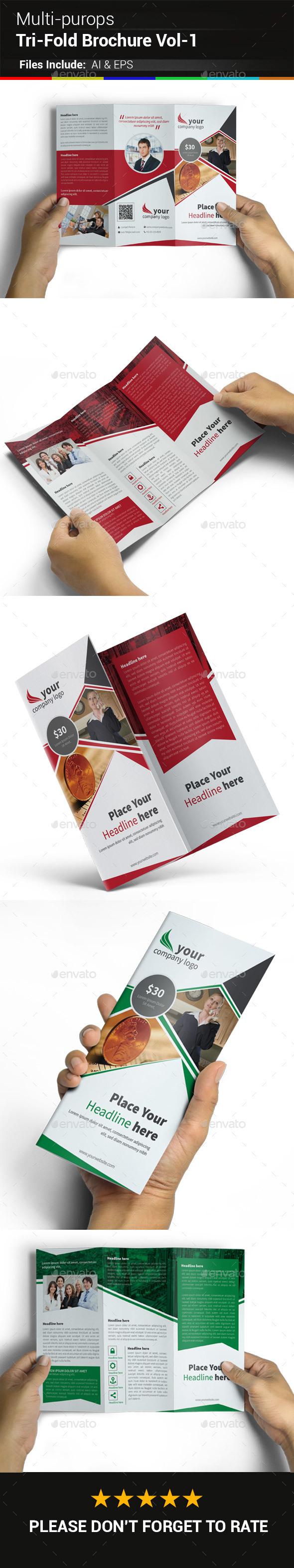 Multipurpose Business Tri-Fold Brochure Vol-1 - Corporate Brochures