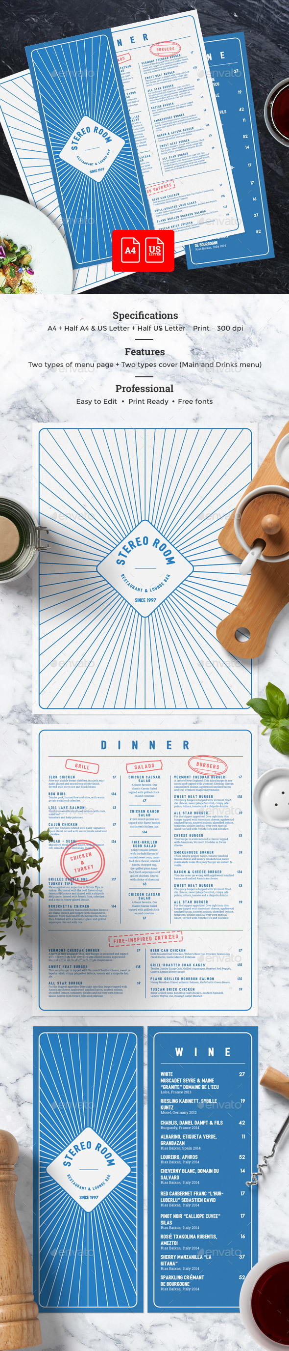 Elegant Cafe Menu - Food Menus Print Templates