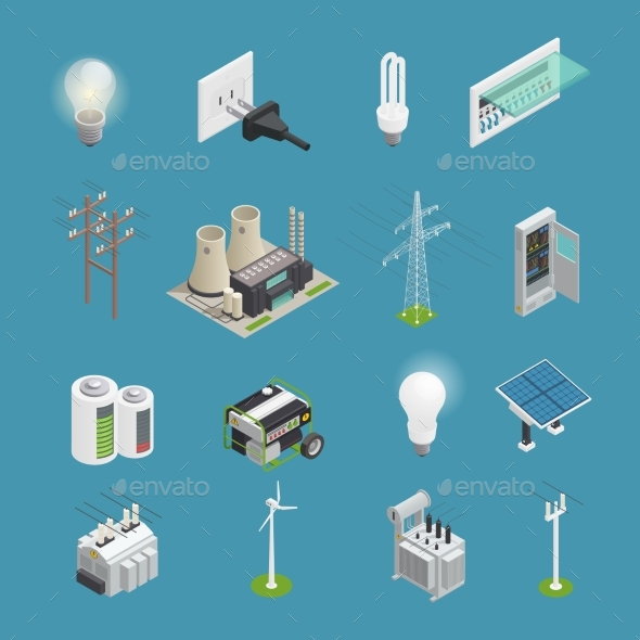 Electricity Power Icons Isometric  Collection - Industries Business