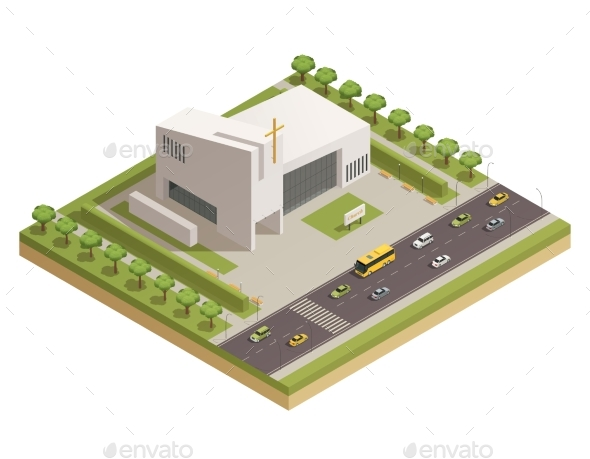 Church Cathedral Road Isometric Composition - Buildings Objects