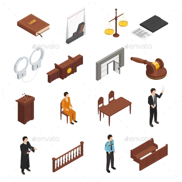 Law Justice Isometric Icons Set - People Characters