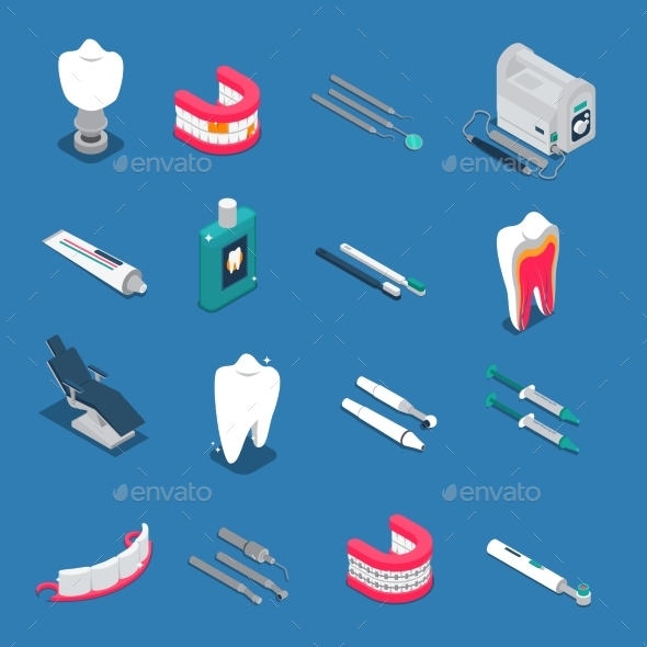 Stomatology Isometric Colored Icons - Health/Medicine Conceptual