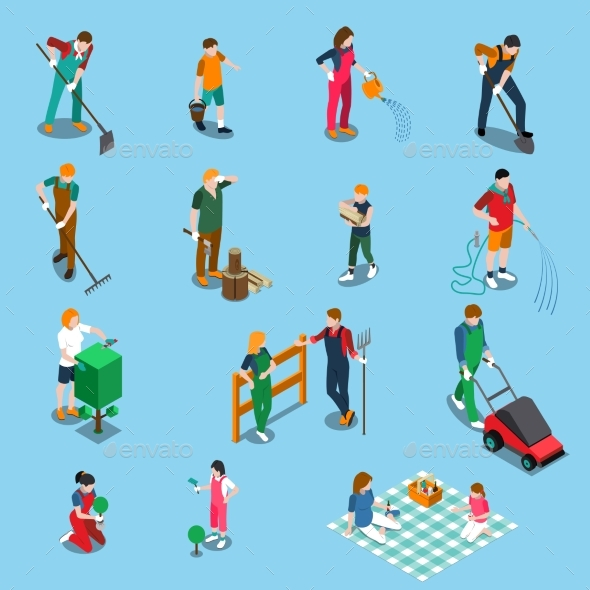 Gardening Isometric Icons - People Characters