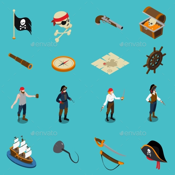 Pirates Isometric Icons - People Characters