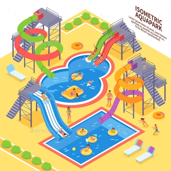 Aqua Park Illustration - Sports/Activity Conceptual